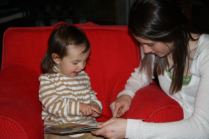 Riley and Madeline reading smaller