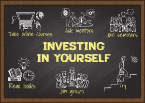 42294177 - info graphics on chalkboard about investing in yourself.