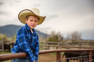 A young cowboy steps up onto the steel panels around the permiter of the corral on the Melin Ranch near Pray, Montana.